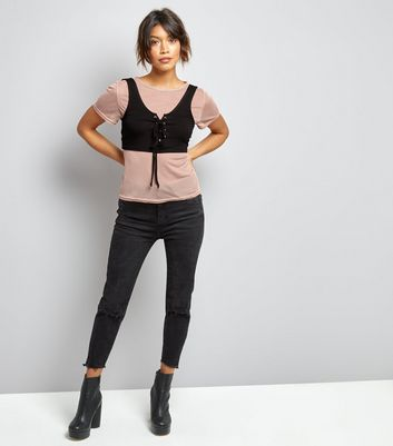 Innocence Shell Pink Mesh 2 in 1 Corset Top New Look