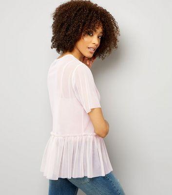 Tall Shell Pink Mesh Peplum Hem Top New Look