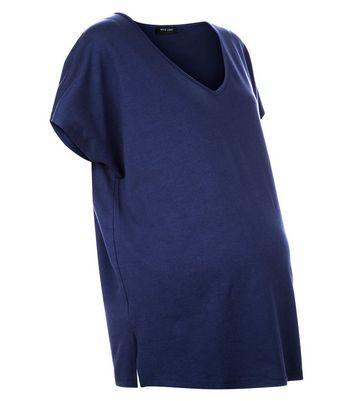 Maternity Navy V Neck Oversized T-Shirt New Look