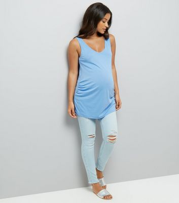 Maternity Blue V Neck Longline Vest New Look