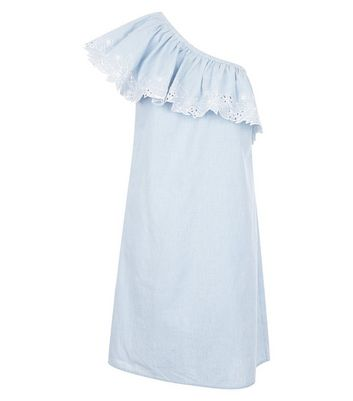 Tall Blue Stripe Floral Embroidered Asymmetric Frill Dress New Look