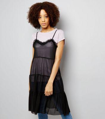 Tall Black Strappy Mesh Midi Dress New Look