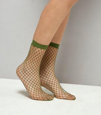 Khaki Oversized Fishnet Socks New Look
