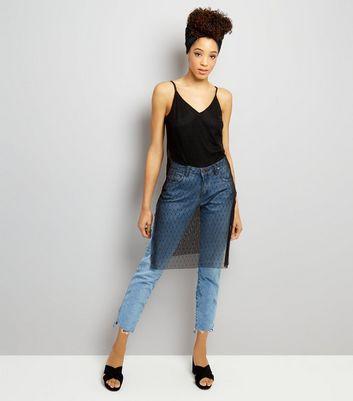 Black Spot Print Mesh Hem Longline Cami Top New Look