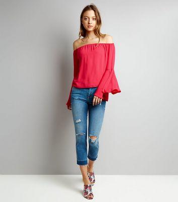 Pink Flared Sleeve Bardot Top New Look