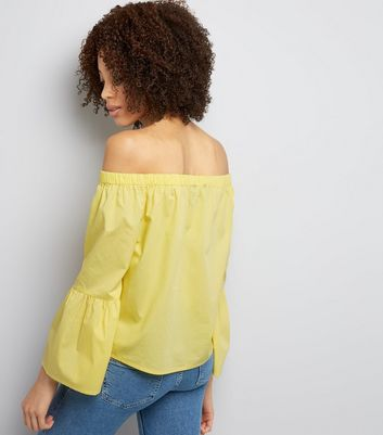 Yellow Flared Sleeve Bardot Neck Top New Look
