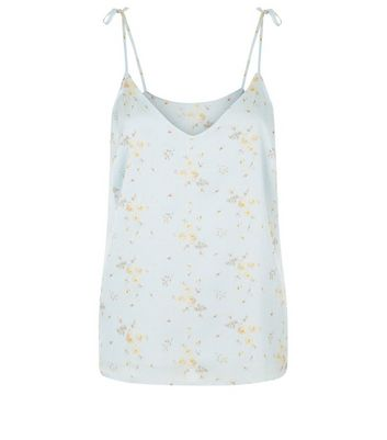 Blue Floral Print Satin Tie Strap Cami New Look