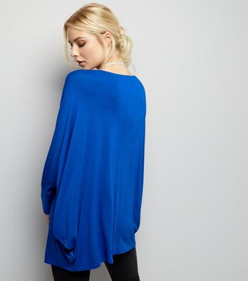 Blue Vanilla Blue Necklace Detail Oversized Top New Look