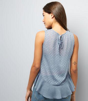 Blue Spot Print Frill Trim Chiffon Top New Look