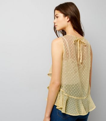 Yellow Spot Print Frill Trim Chiffon Top New Look