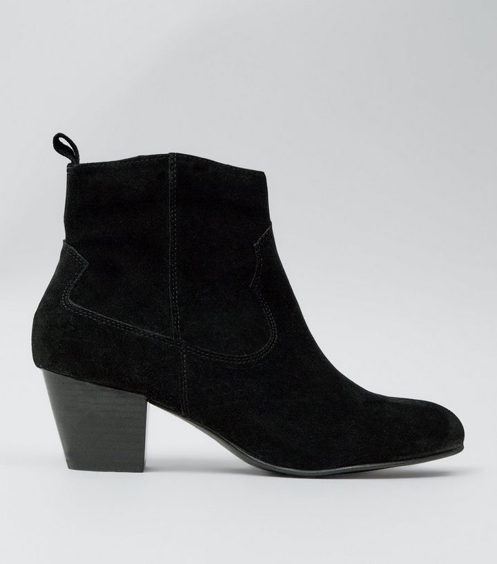 9590415bc4608 Black Suede Western Ankle Boots | New Look