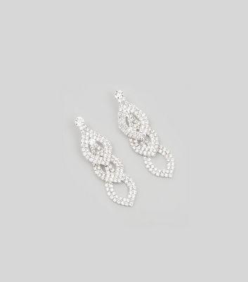 Silver Diamante Teardrop Chain Earrings New Look