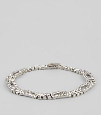 Silver Square Diamante Bracelet New Look