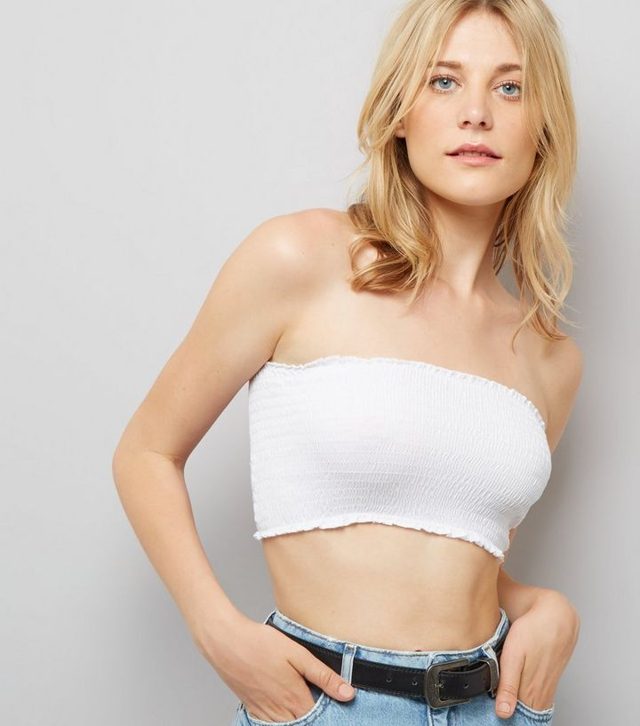 comparer les prix guetter complet dans les spécifications White Shirred Bandeau Top Add to Saved Items Remove from Saved Items