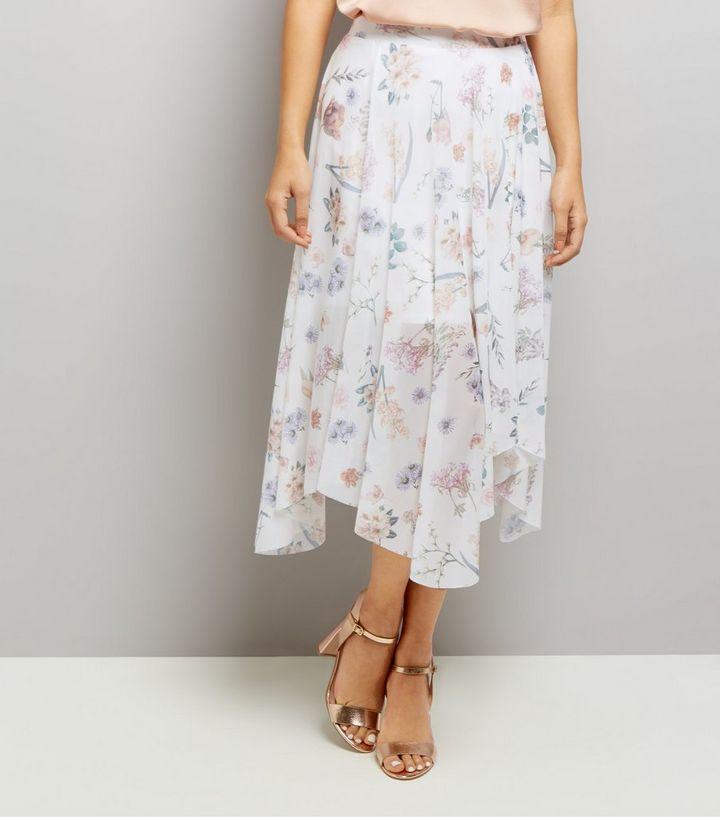 320f9cc512 White Floral Print Hanky Hem Skirt   New Look
