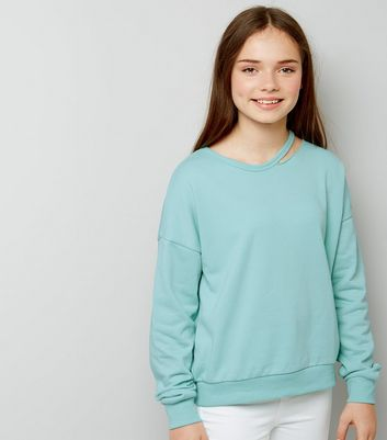 Teens Mint Green Cut Out Neck Sweater New Look