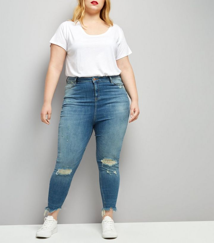 search for authentic official photos outlet for sale Curves Blue Ripped Angled Hem Skinny Jenna Jeans Add to Saved Items Remove  from Saved Items