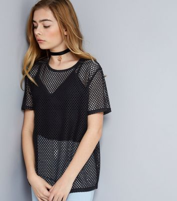 Teens Black Mesh Oversized T-Shirt New Look