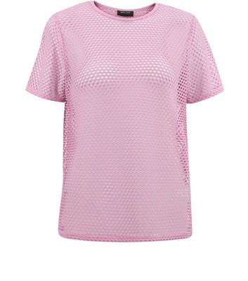 Teens Lilac Mesh Oversized T-Shirt New Look
