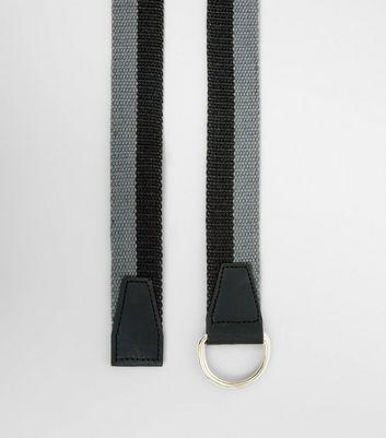 Grey and Black Stripe Textured Belt New Look
