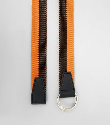 Coral and Black Stripe Textured Belt New Look