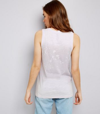 Pale Grey Splatter Print Tank Top New Look