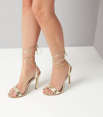 Gold Lace Up Heels New Look