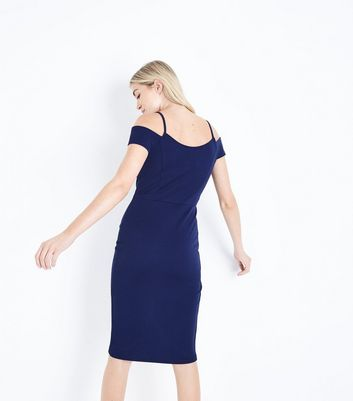 AX Paris Navy V Neck Wrap Front Midi Dress New Look