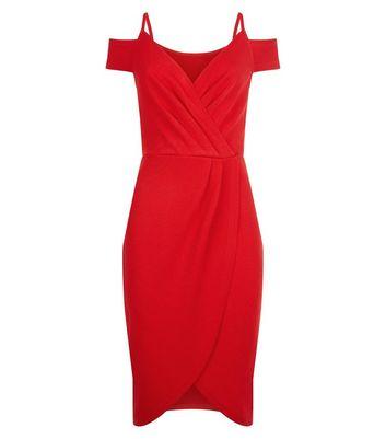 AX Paris Red Cold Shoulder Midi Dress New Look