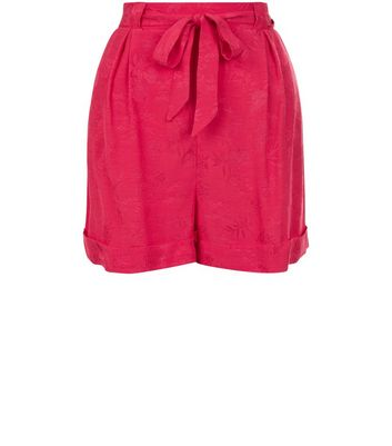 Bright Pink Tie Waist Shorts New Look