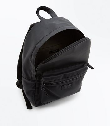 Black Leather-Look London Design Backpack New Look