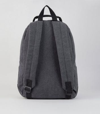 Black Washed Canvas Backpack New Look