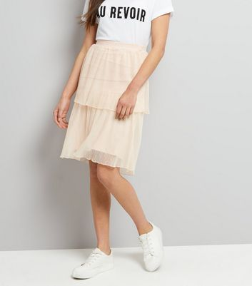 Shell Pink Tiered Midi Skirt New Look
