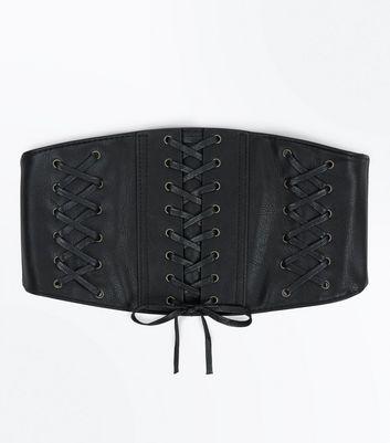 Black Wide Triple Corset Belt New Look