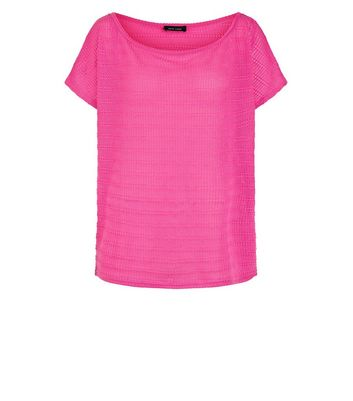 Bright Pink Off the Shoulder Top New Look