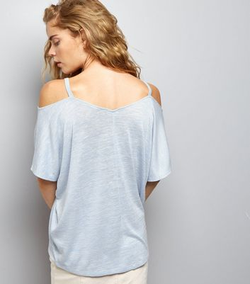 Pale Blue 1/2 Sleeve Cold Shoulder Top New Look