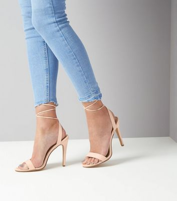 Cream Ankle Lace Up Heels New Look