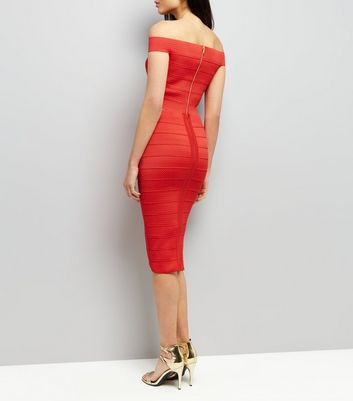 Red Bandage Pencil Skirt New Look