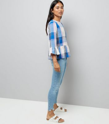Petite White Check Frill Hem Top New Look