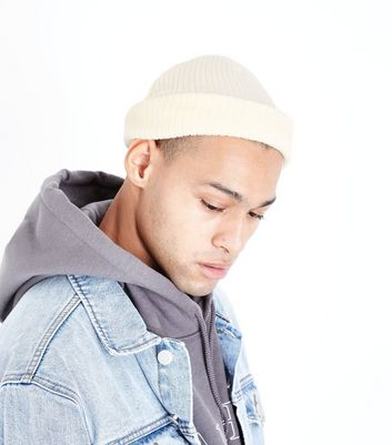 Cream Ribbed Beanie New Look