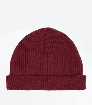 Burgundy Ribbed Beanie New Look