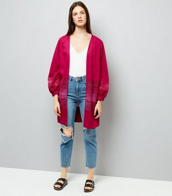 Deep Pink Lace Trim Mesh Panel Kimono New Look