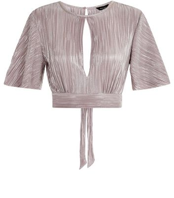 Shell Pink Metallic Pleated Tie Back Crop Top New Look