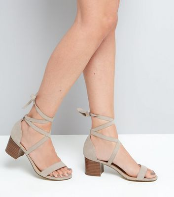 Wide Fit Grey Suedette Ankle Tie Heeled Sandals New Look