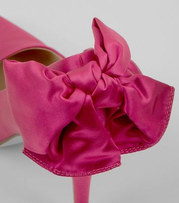 Pink Satin Bow Back Pointed Court Shoes New Look
