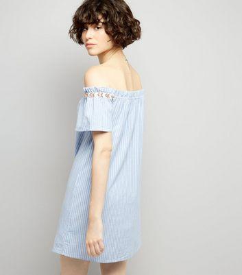 Blue Striped Embroidered Trim Cold Shoulder Dress New Look