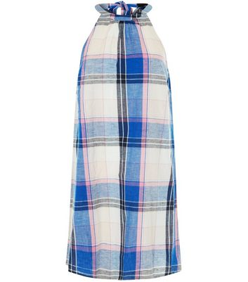Blue Check Tie Back Shift Dress New Look
