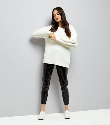 Cream Lattice Back Ribbed Jumper New Look