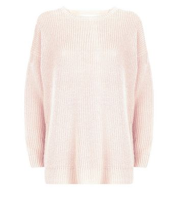 Shell Pink Lattice Back Ribbed Jumper New Look