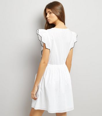 White Cut Out Short Sleeve Skater Dress New Look